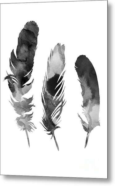 Three Feathers Silhouette Metal Print