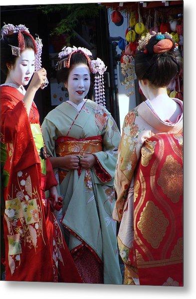 Three Geisha Metal Print by Emma Manners