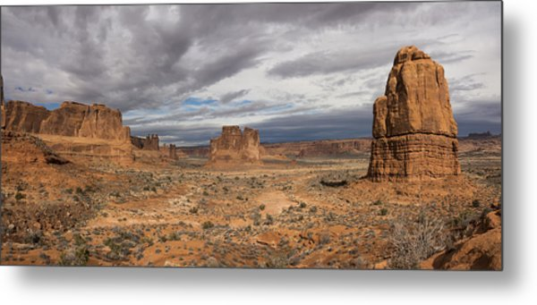 Three Gossips And Courthouse Towers Panorama - Arches National Park - Moab Utah Metal Print