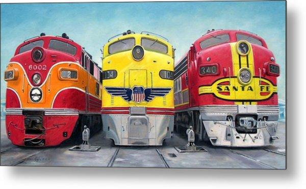 Three Locomotives Metal Print