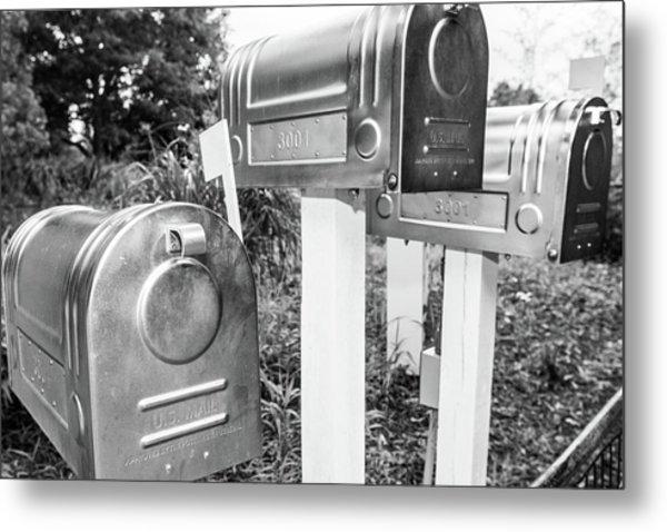 Three Mailboxes Metal Print