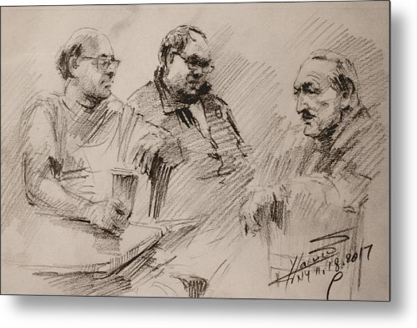 Three Men Chatting Metal Print