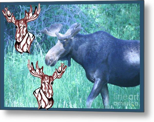 Three Moose Metal Print