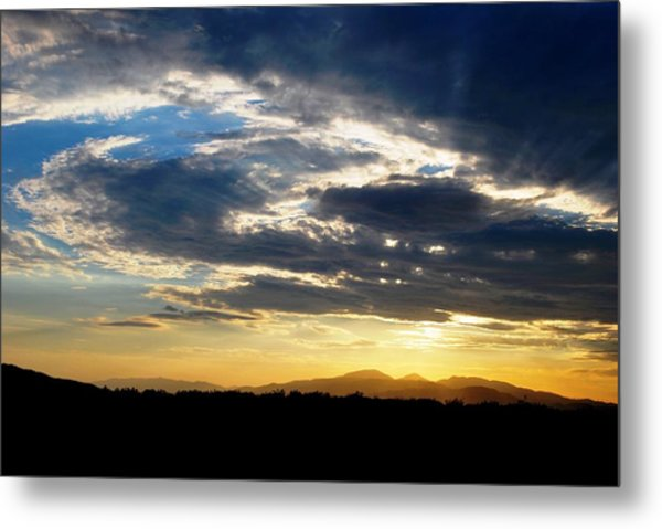 Three Peak Sunset Swirl Skyscape Metal Print