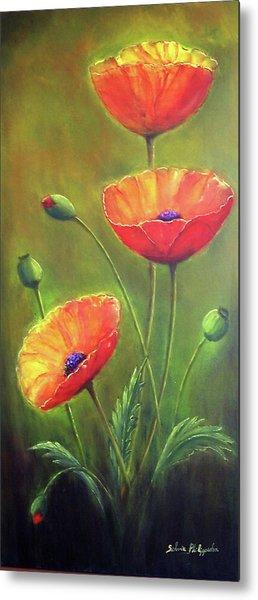Three Poppies Metal Print by Silvia Philippsohn