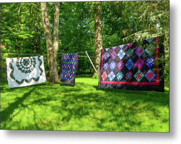 Three Quilts In The Breeze Metal Print