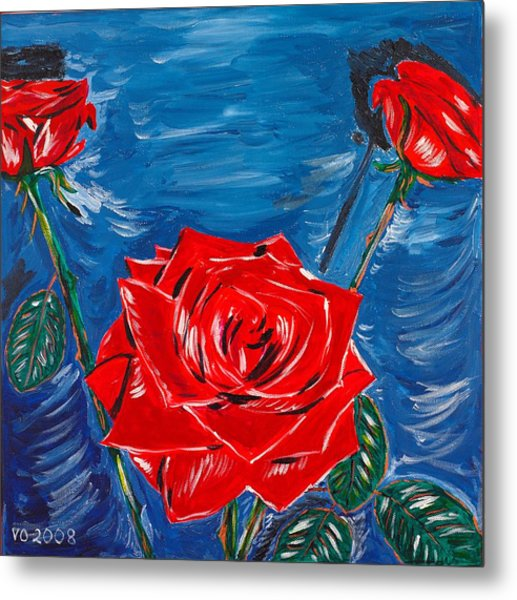 Three Red Roses Four Leaves Metal Print