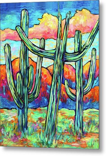Three Saguaros Metal Print
