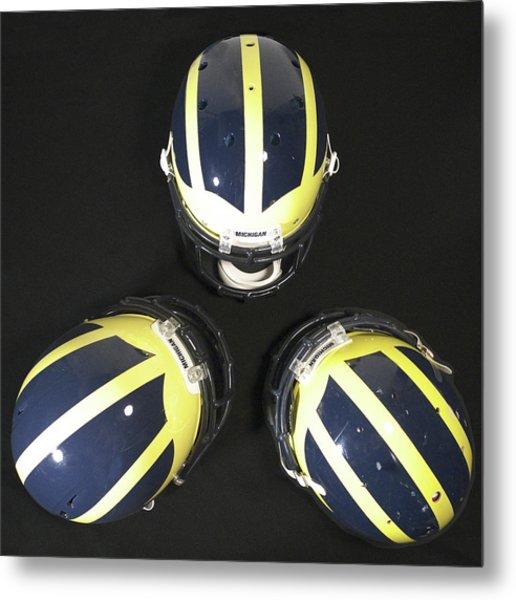Three Striped Wolverine Helmets Metal Print