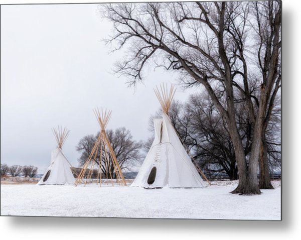 Three Tipis Metal Print