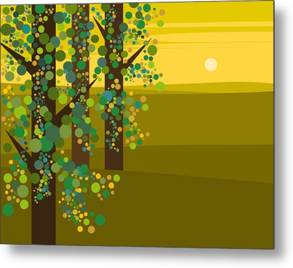 Three Trees In The Spring Metal Print