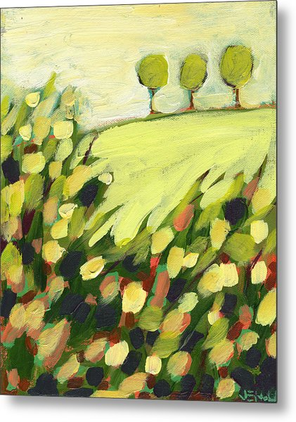 Three Trees On A Hill Metal Print