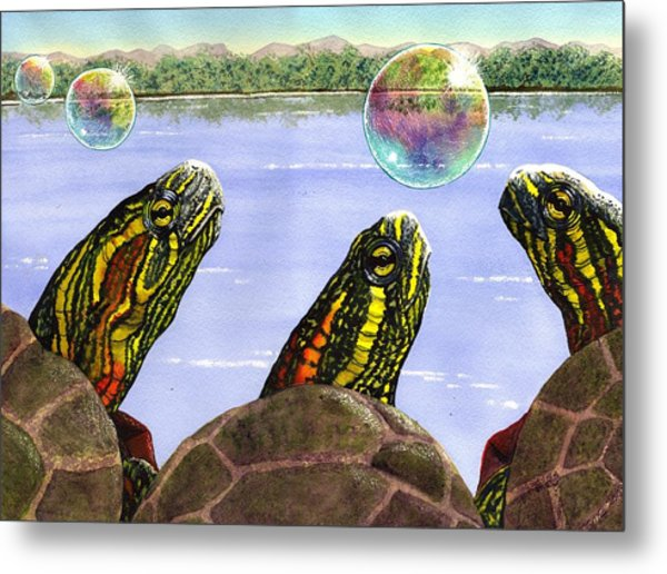 Three Turtles Three Bubbles Metal Print