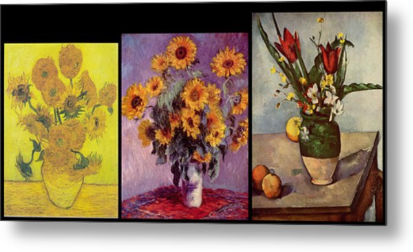 Three Vases Van Gogh - Monet - Cezanne Metal Print