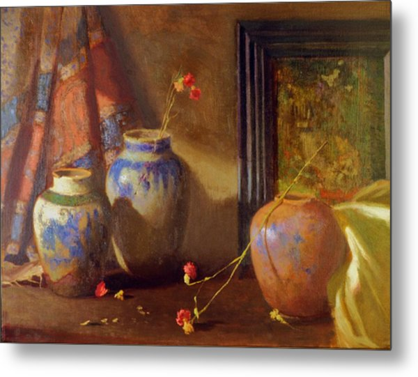 Three Vases With Impressionist Painting In Background Metal Print by David Olander
