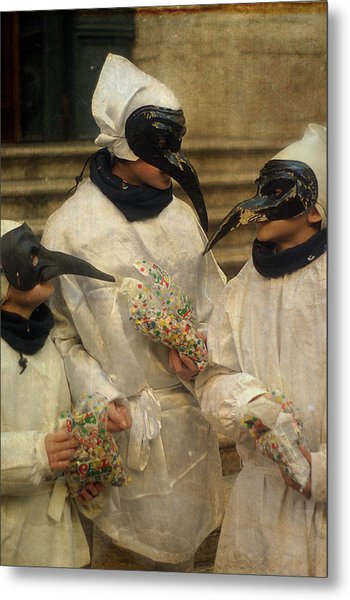 Three Venice Boys Celebrating At Carnival Metal Print