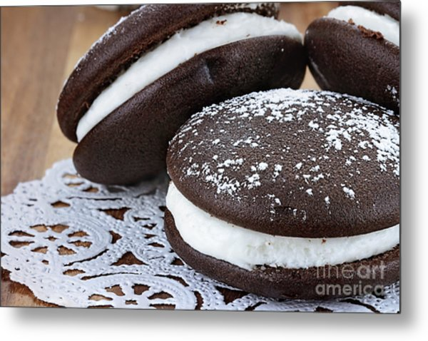 Three Whoopie Pies Or Moon Pies Metal Print