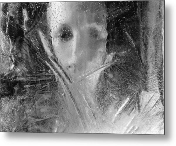 Through A Wintry Window Gaze... Thee Or Me? Metal Print
