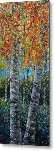 Through The Aspen Trees Diptych 1 Metal Print