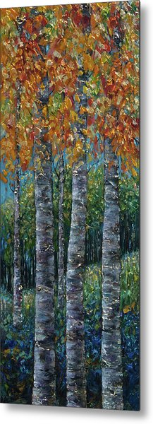Through The Aspen Trees Diptych 2 Metal Print