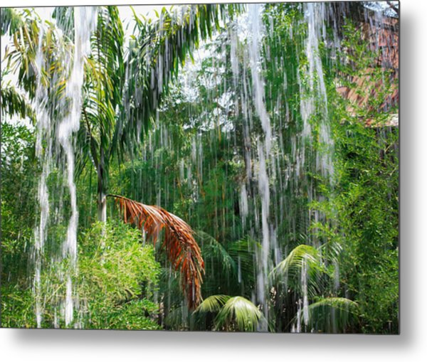 Metal Print featuring the photograph Through The Waterfall by Alison Frank
