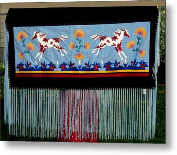 Metal Print featuring the tapestry - textile Thunder Pony by Chholing Taha