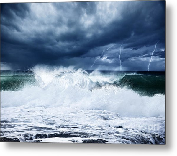 Thunderstorm And Lightning On The Beach Metal Print
