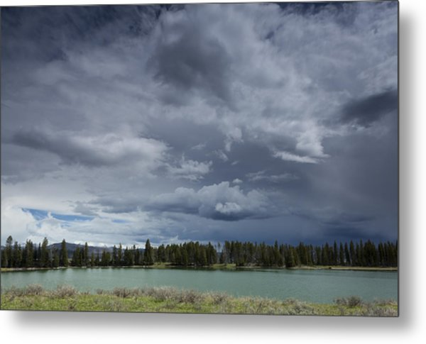 Thunderstorm Over Indian Pond Metal Print