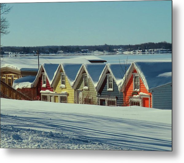 Winter View Ti Park Boathouses Metal Print
