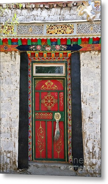 Tibet Red Door Metal Print