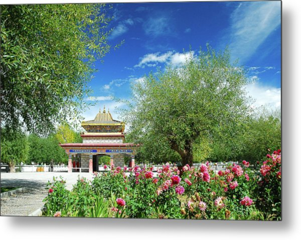 Tibet Scenery In Autumn Metal Print