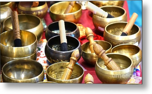 Tibetan Bronze Singing Bowls Metal Print