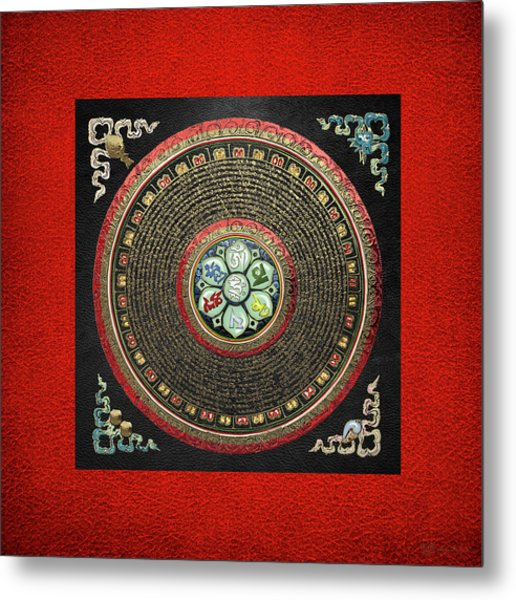 Tibetan Om Mantra Mandala In Gold On Black And Red Metal Print
