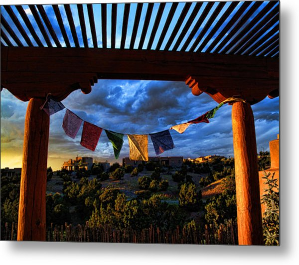 Tibetan Prayer Flags Outside My Office At Sundown Metal Print