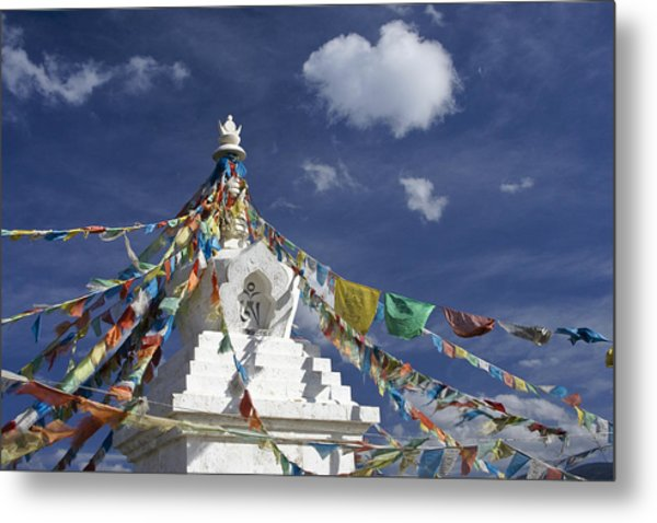 Tibetan Stupa With Prayer Flags Metal Print