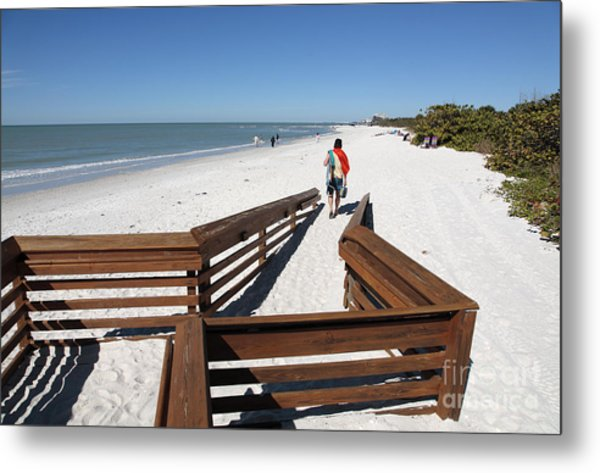 Tide Of Sand Over A Ramp On The Beach In Naples Florida Metal Print