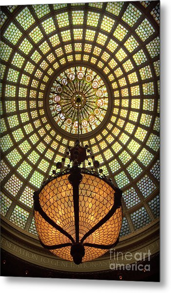 Tiffany Ceiling In The Chicago Cultural Center Metal Print