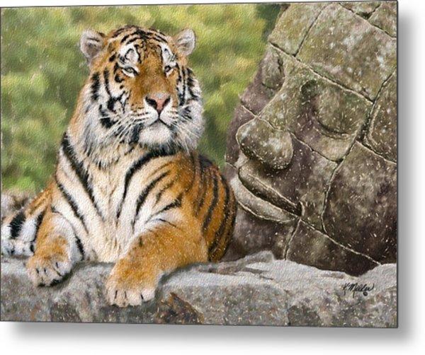 Tiger And Buddha Metal Print