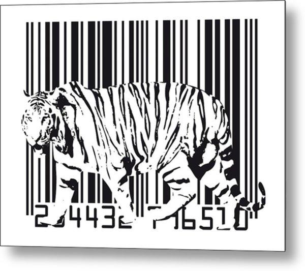 Tiger Barcode Metal Print