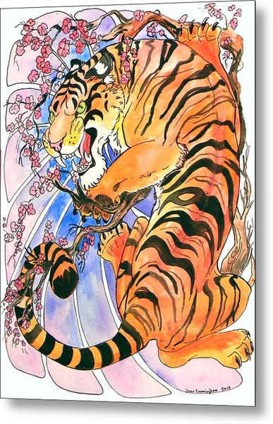 Tiger In Cherries Metal Print