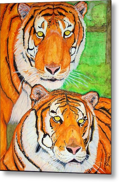 Tiger Twins Metal Print by Jose Cabral