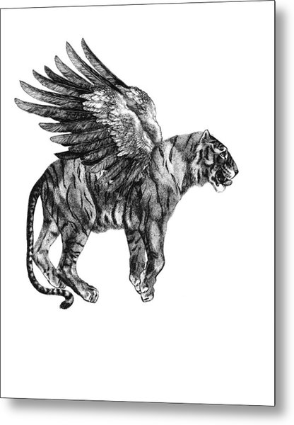 Tiger With Wings, Black And White Illustration Metal Print