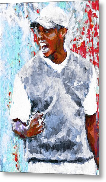 Tiger Woods One Two Red Painting Digital Metal Print