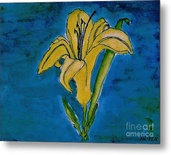 Tigerlily Yellow Metal Print by Marsha Heiken
