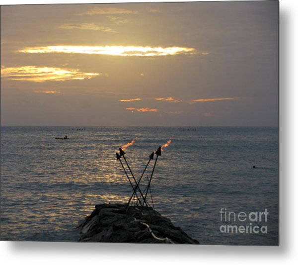 Tiki Torches In The Sunset Metal Print
