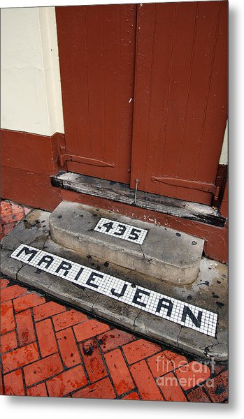 Tile Inlay Steps Marie Jean 435 Wooden Door French Quarter New Orleans Metal Print
