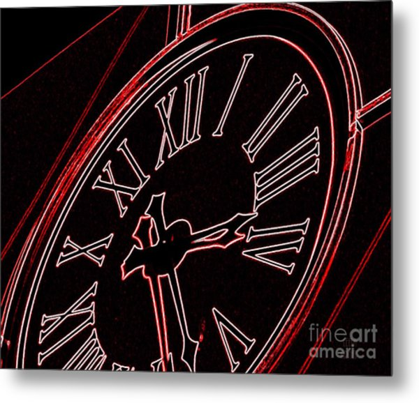 Time In Red And Black Metal Print