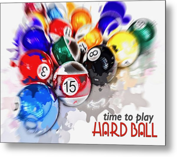 Time To Play Hard Ball White Metal Print