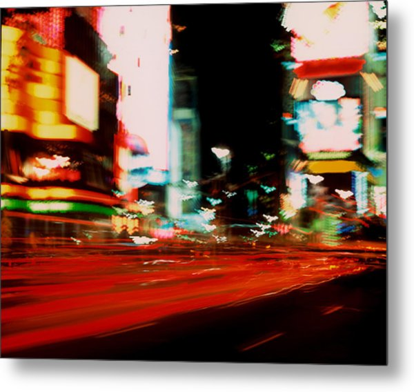 Times Square Painted Metal Print by Brad Rickerby