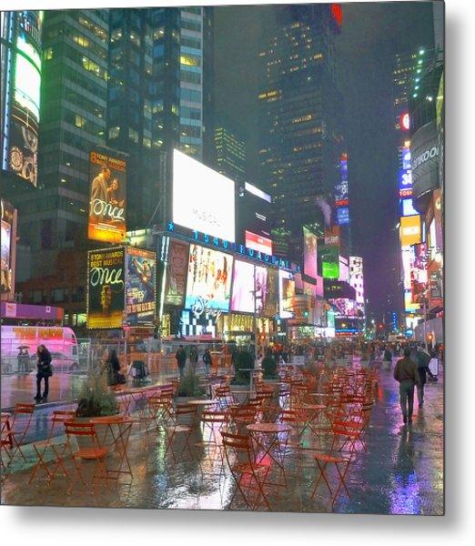 Times Square Red Rain Metal Print